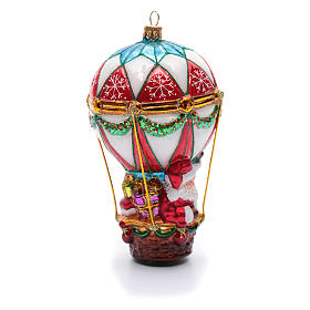 Décoration verre soufflé sapin Noël Père Noël en montgolfière s4