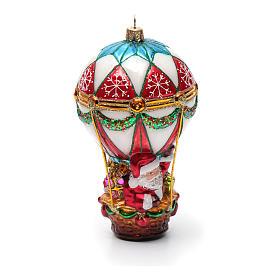 Décoration verre soufflé sapin Noël Père Noël en montgolfière s8