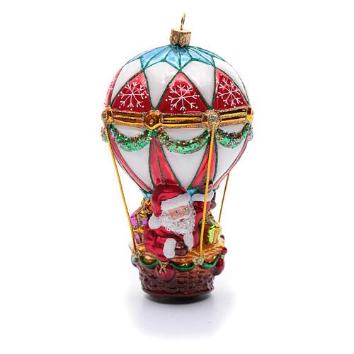 Décoration verre soufflé sapin Noël Père Noël en montgolfière 1