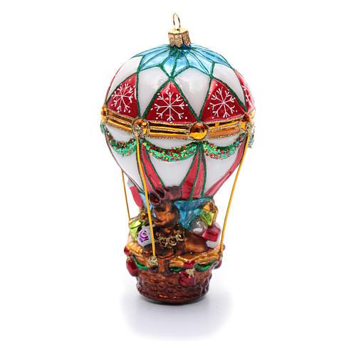 Décoration verre soufflé sapin Noël Père Noël en montgolfière 3