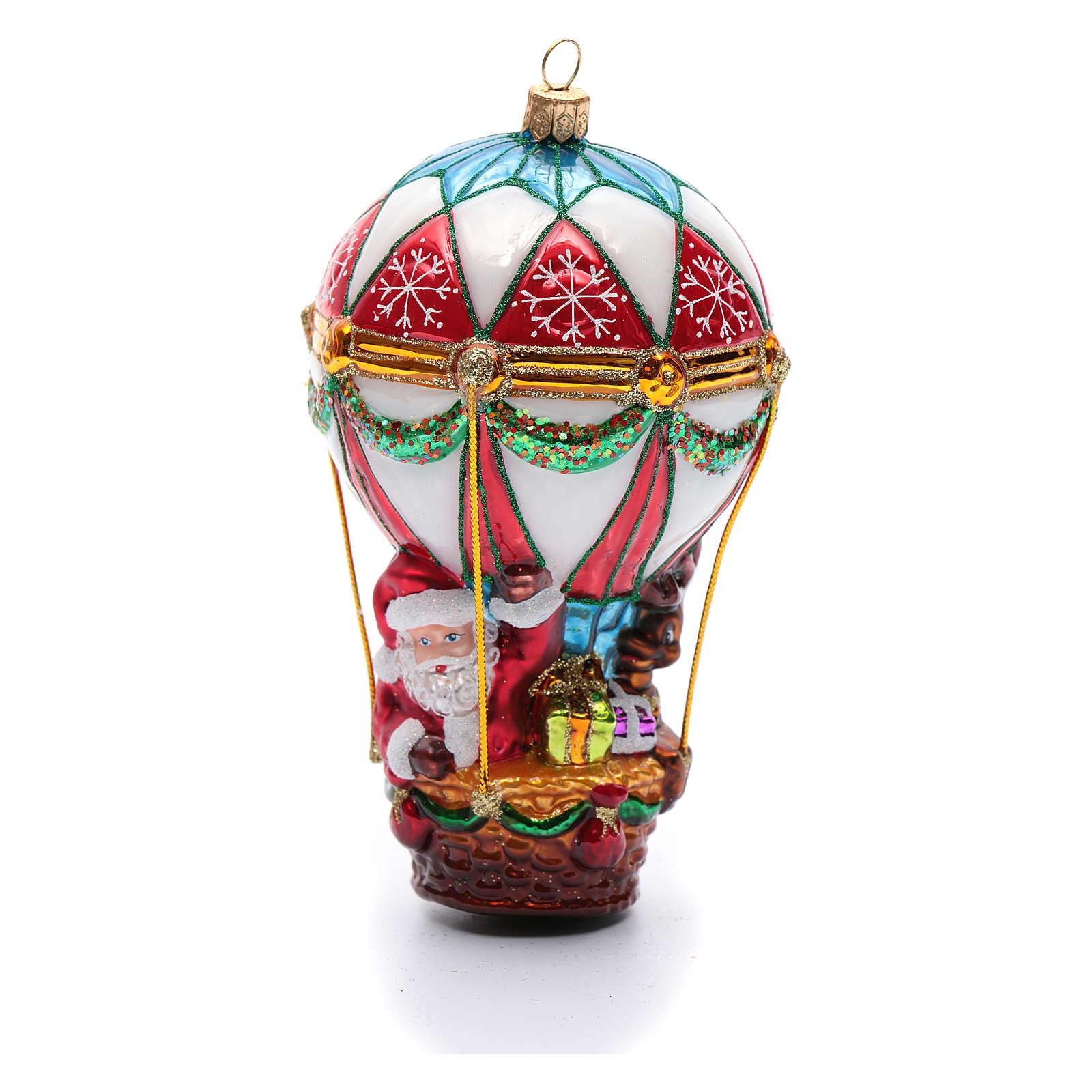 Babbo Natale in Mongolfiera addobbo vetro soffiato Albero Natale 4