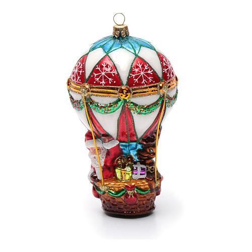 Babbo Natale in Mongolfiera addobbo vetro soffiato Albero Natale 6