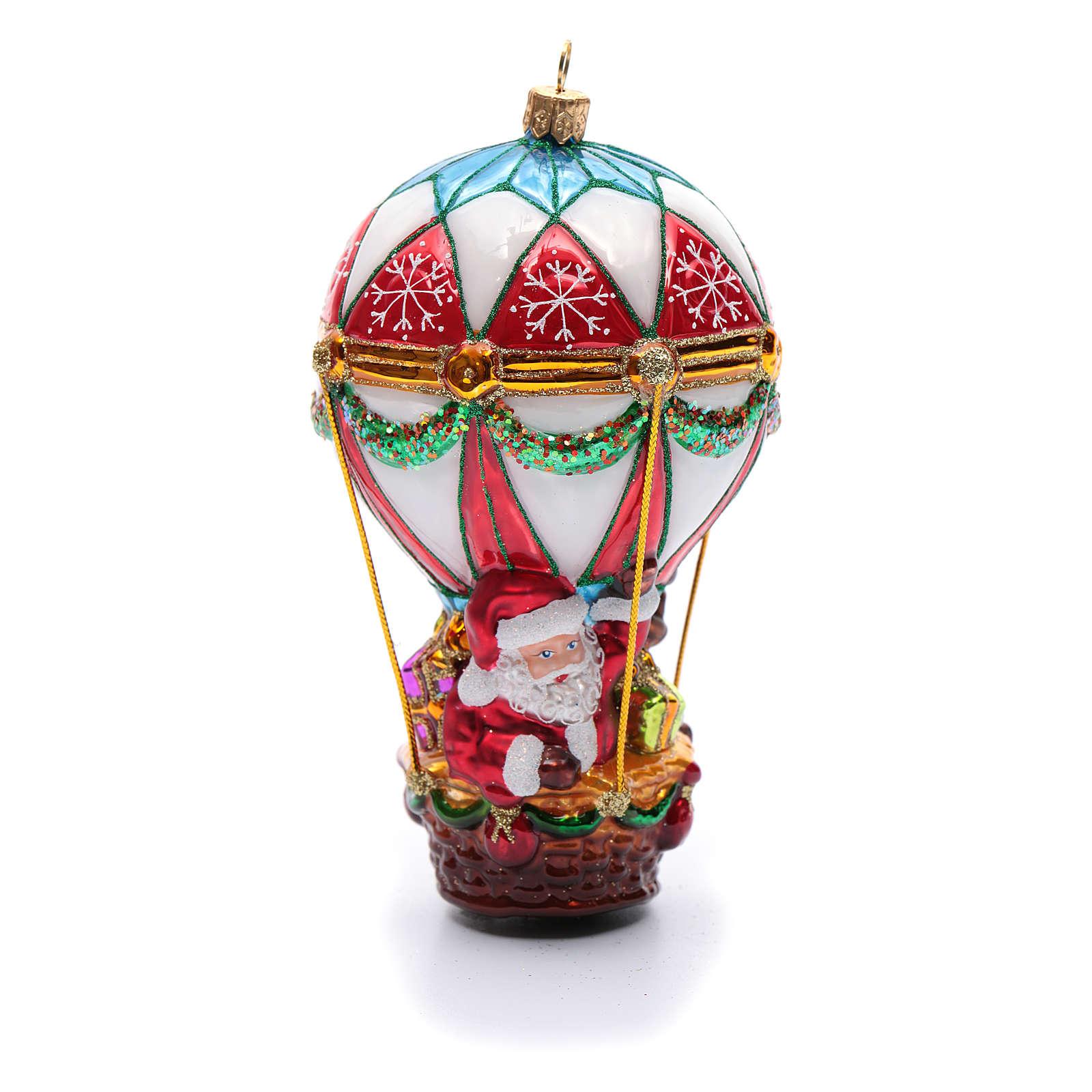 Pai Natal num balão adorno vidro soprado árvore Natal 4