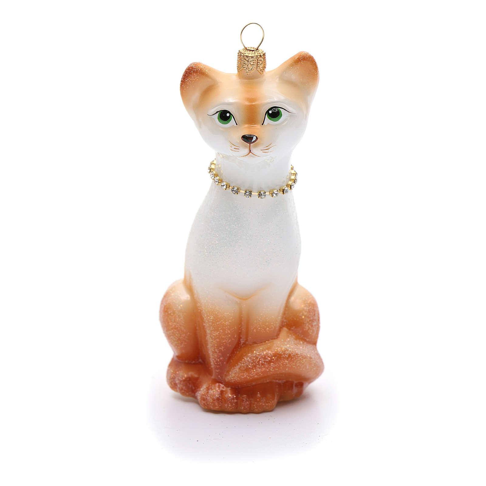 Blown glass Christmas ornament, oriental shorthair cat 4