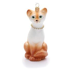 Blown glass ornaments: Blown glass Christmas ornament, oriental shorthair cat
