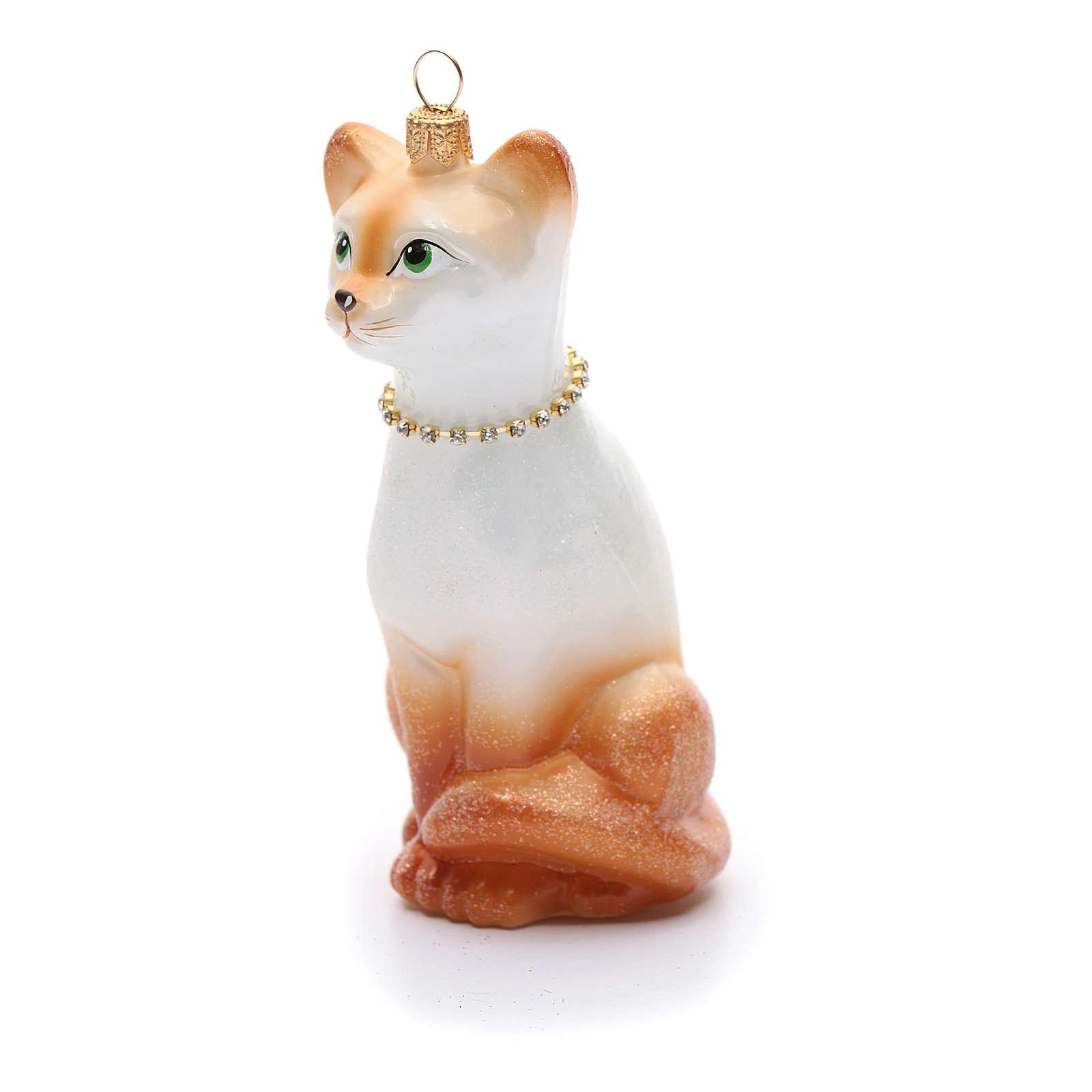 Gato Oriental adorno vidrio soplado para Árbol de Navidad 4