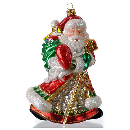 Décoration verre soufflé sapin Noël Père Noël avec cadeaux 1