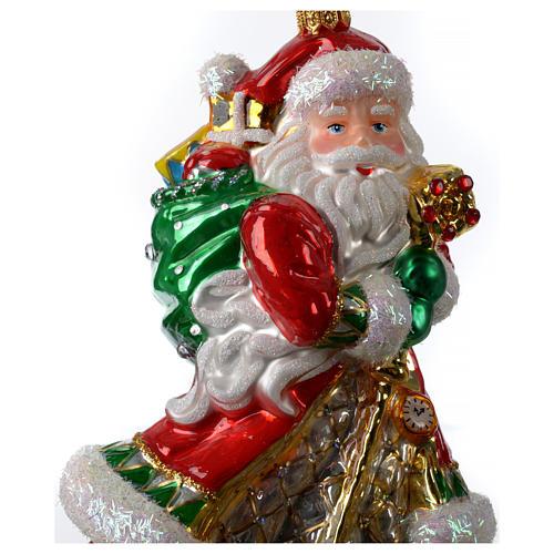 Décoration verre soufflé sapin Noël Père Noël avec cadeaux 2