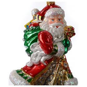 Pai Natal com presentes enfeite vidro soprado árvore Natal s2
