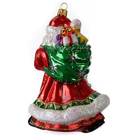 Blown glass Christmas ornament, Santa Claus with gifts s3