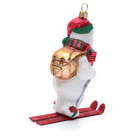 Blown glass Christmas ornament, polar bear on ski s3