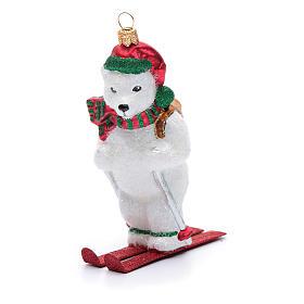Blown glass Christmas ornament, polar bear on ski s4