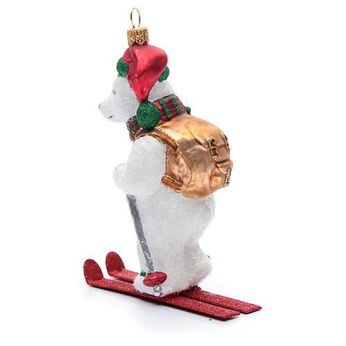Orso polare con sci addobbo vetro soffiato Albero Natale 2