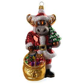 Renna con doni addobbo vetro soffiato Albero Natale s1