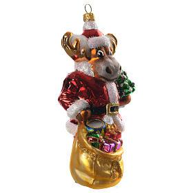 Renna con doni addobbo vetro soffiato Albero Natale s3