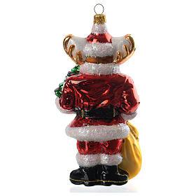 Renna con doni addobbo vetro soffiato Albero Natale s4