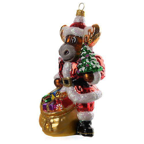 Renna con doni addobbo vetro soffiato Albero Natale 2