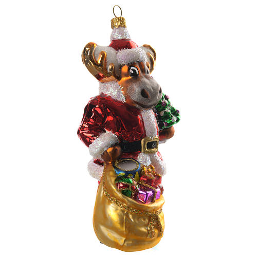Renna con doni addobbo vetro soffiato Albero Natale 3