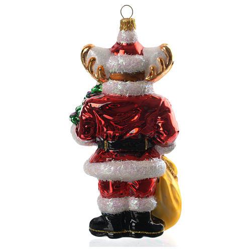 Renna con doni addobbo vetro soffiato Albero Natale 4