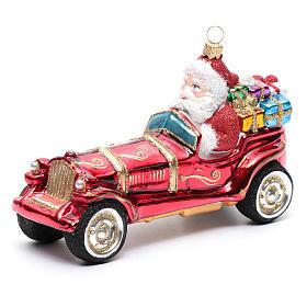 Blown glass Christmas ornament, Santa Claus in car s1