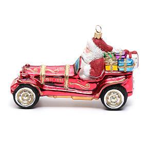 Blown glass Christmas ornament, Santa Claus in car s2