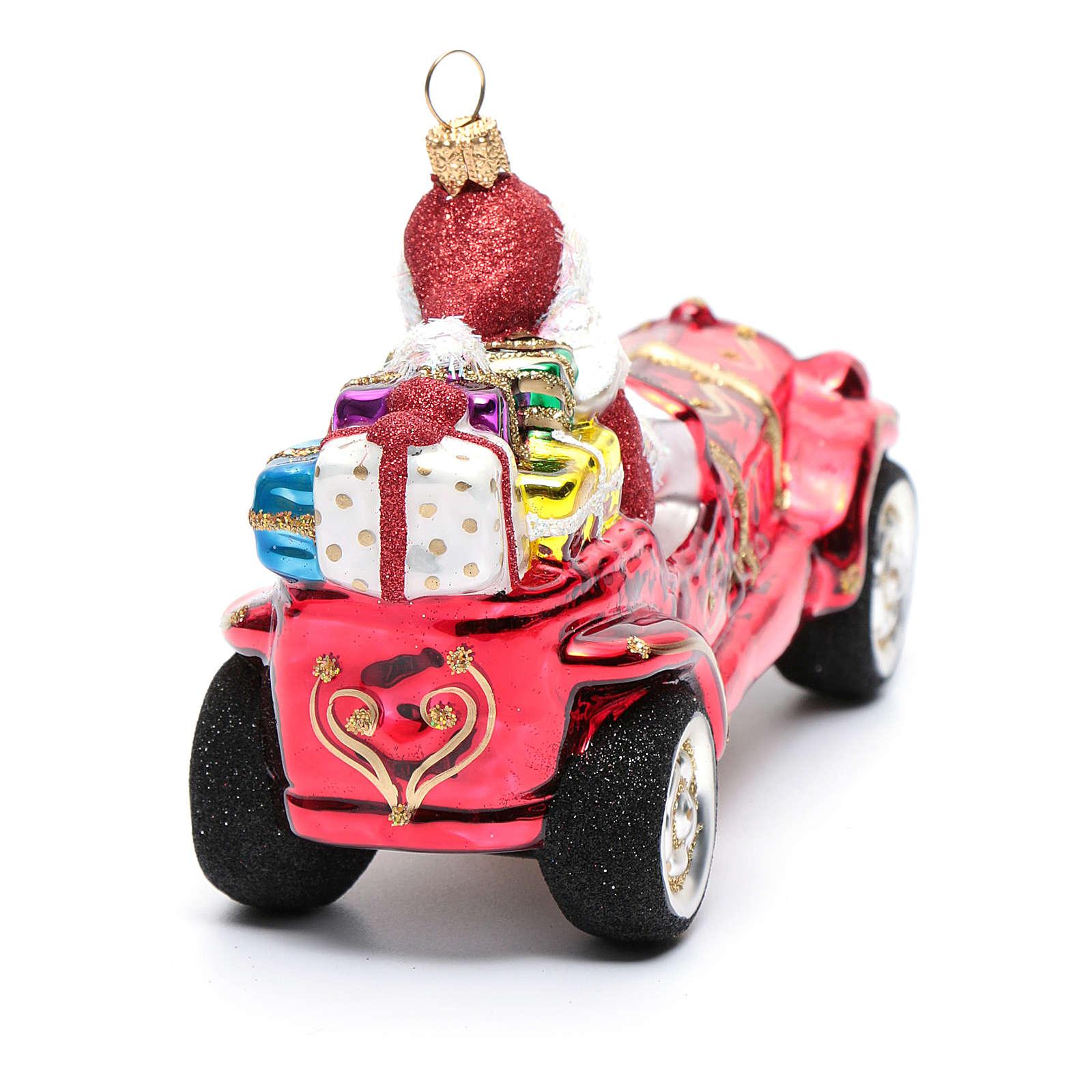 Pai Natal no carro enfeite vidro soprado árvore Natal 4