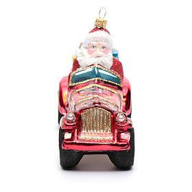 Blown glass Christmas ornament, Santa Claus in car s4