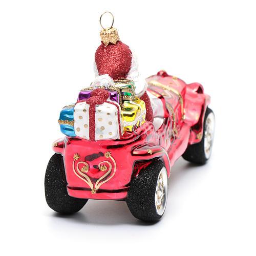 Blown glass Christmas ornament, Santa Claus in car 3