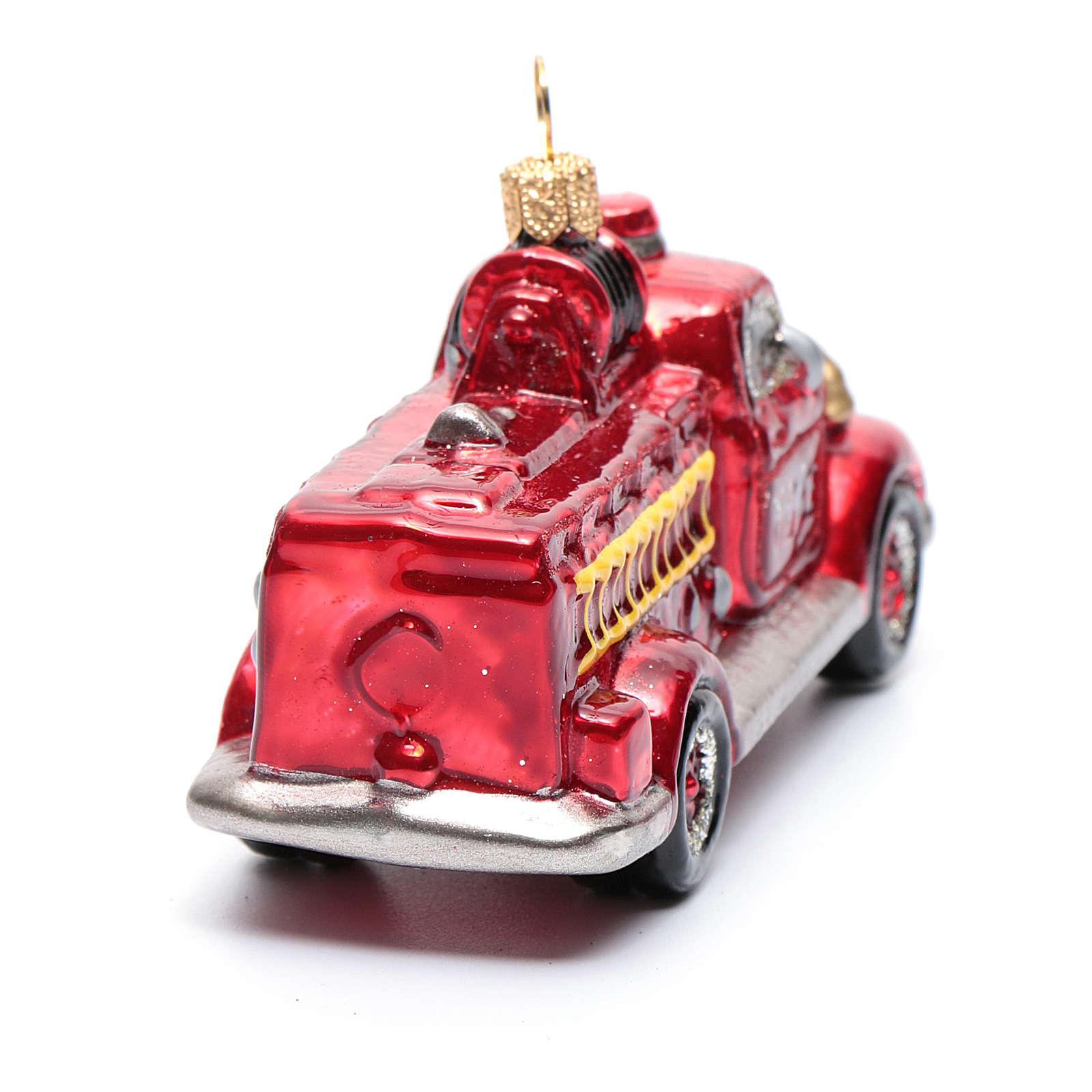 Camión de Bomberos adorno vidrio soplado para Árbol de Navidad 4