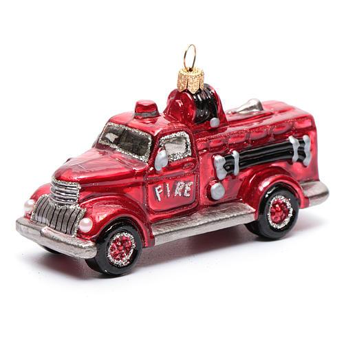 Camión de Bomberos adorno vidrio soplado para Árbol de Navidad 1