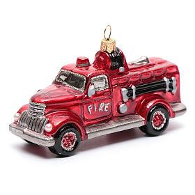 Camion Vigili del Fuoco addobbo vetro soffiato Albero Natale s1