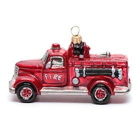 Camion Vigili del Fuoco addobbo vetro soffiato Albero Natale s2