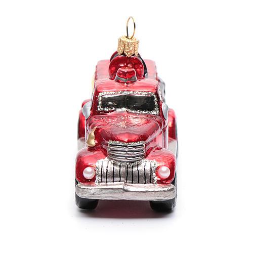 Camion Vigili del Fuoco addobbo vetro soffiato Albero Natale 4