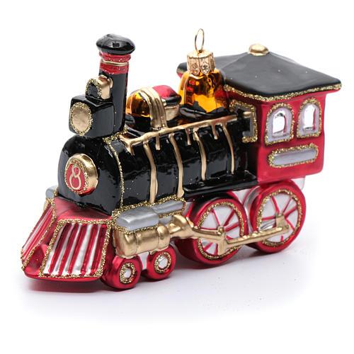 Blown glass Christmas ornament, locomotive 1