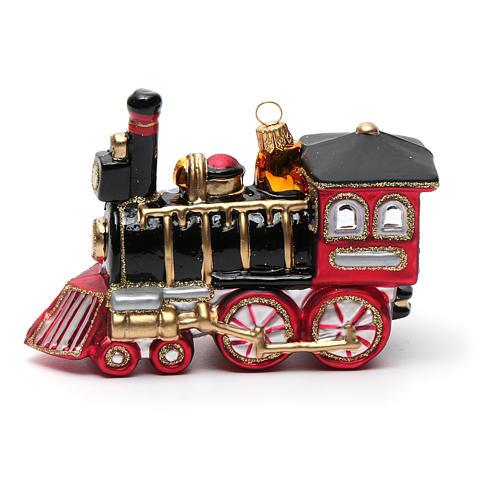 Blown glass Christmas ornament, locomotive 5