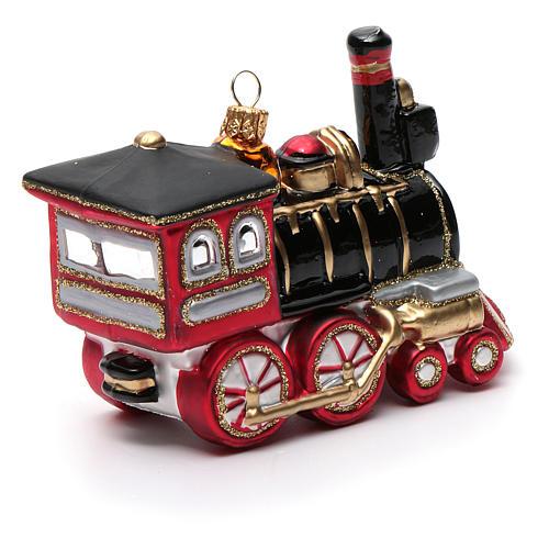 Blown glass Christmas ornament, locomotive 7