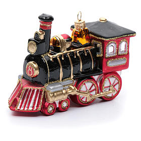 Blown glass Christmas ornament, locomotive s1