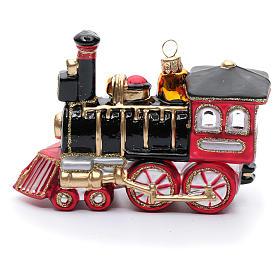 Blown glass Christmas ornament, locomotive s2