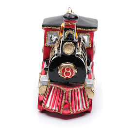 Blown glass Christmas ornament, locomotive s4
