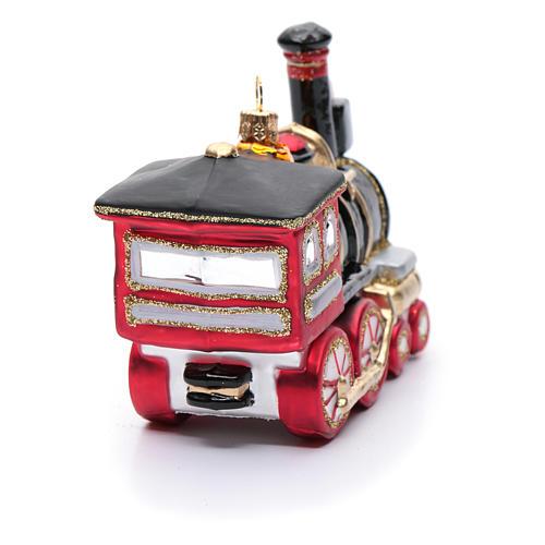 Blown glass Christmas ornament, locomotive 3