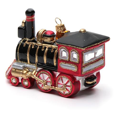 Blown glass Christmas ornament, locomotive 6