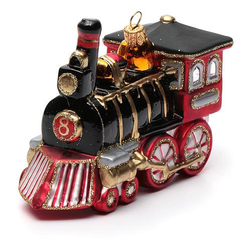 Blown glass Christmas ornament, locomotive 8