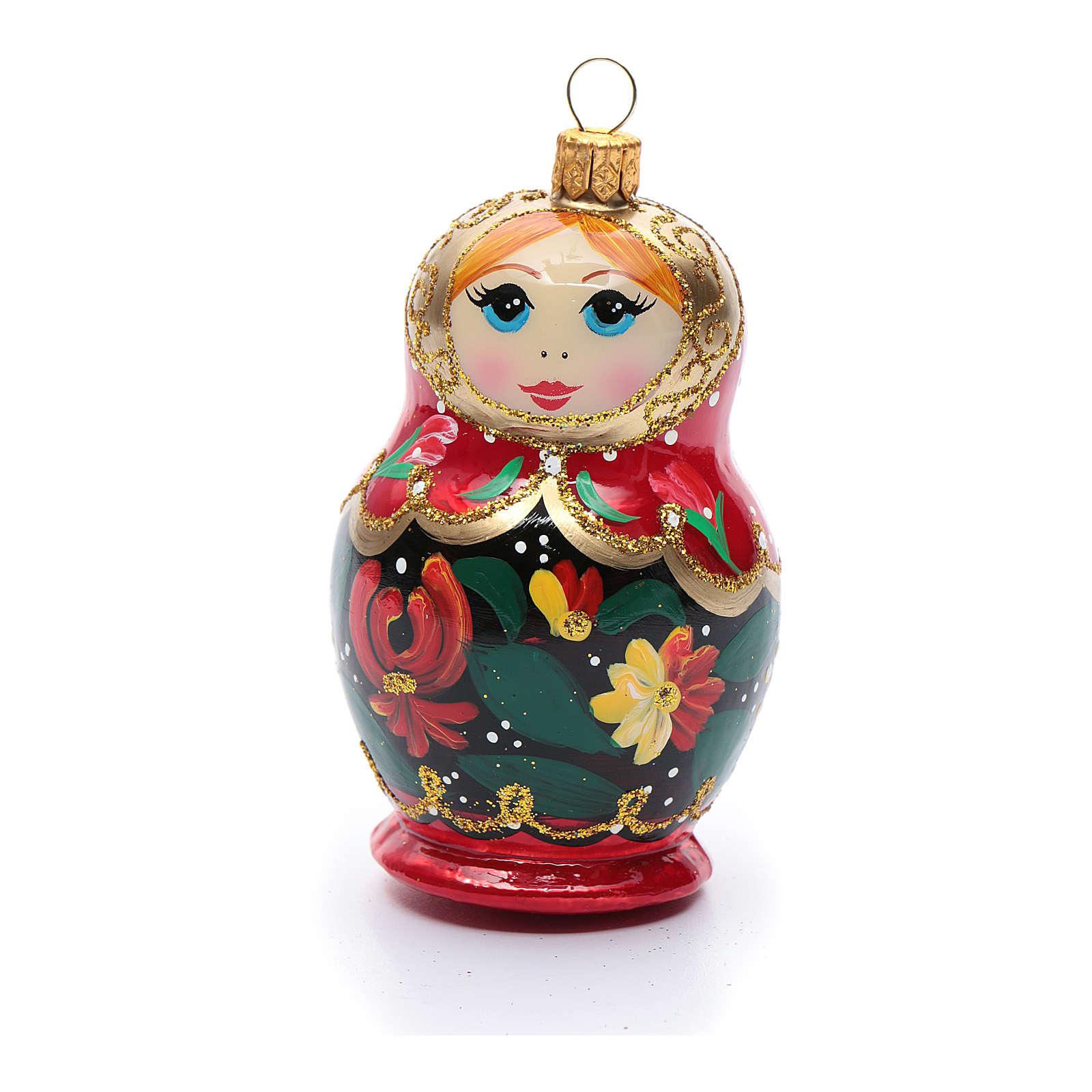 Muñeca Rusa adorno vidrio soplado para Árbol de Navidad 4