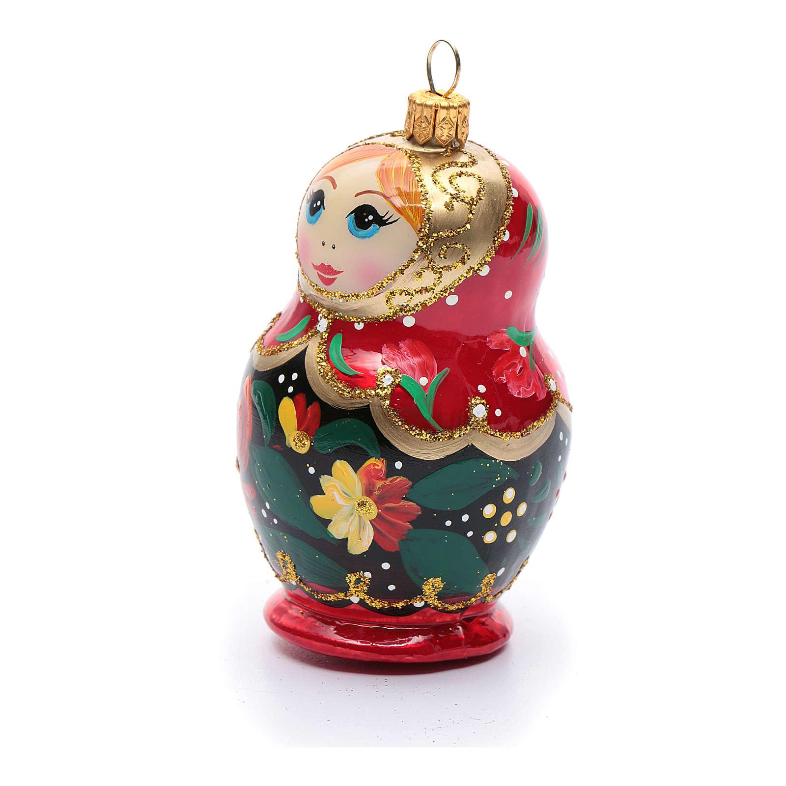 Décoration sapin verre soufflé poupée russe 4