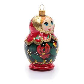 Décoration sapin verre soufflé poupée russe s4