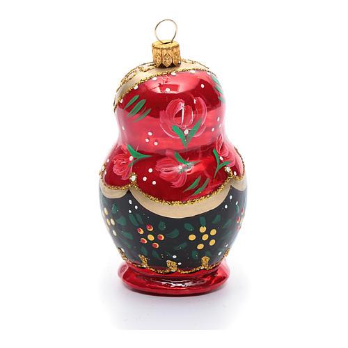 Décoration sapin verre soufflé poupée russe 3
