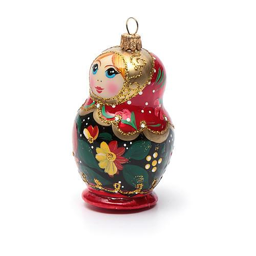Décoration sapin verre soufflé poupée russe 6