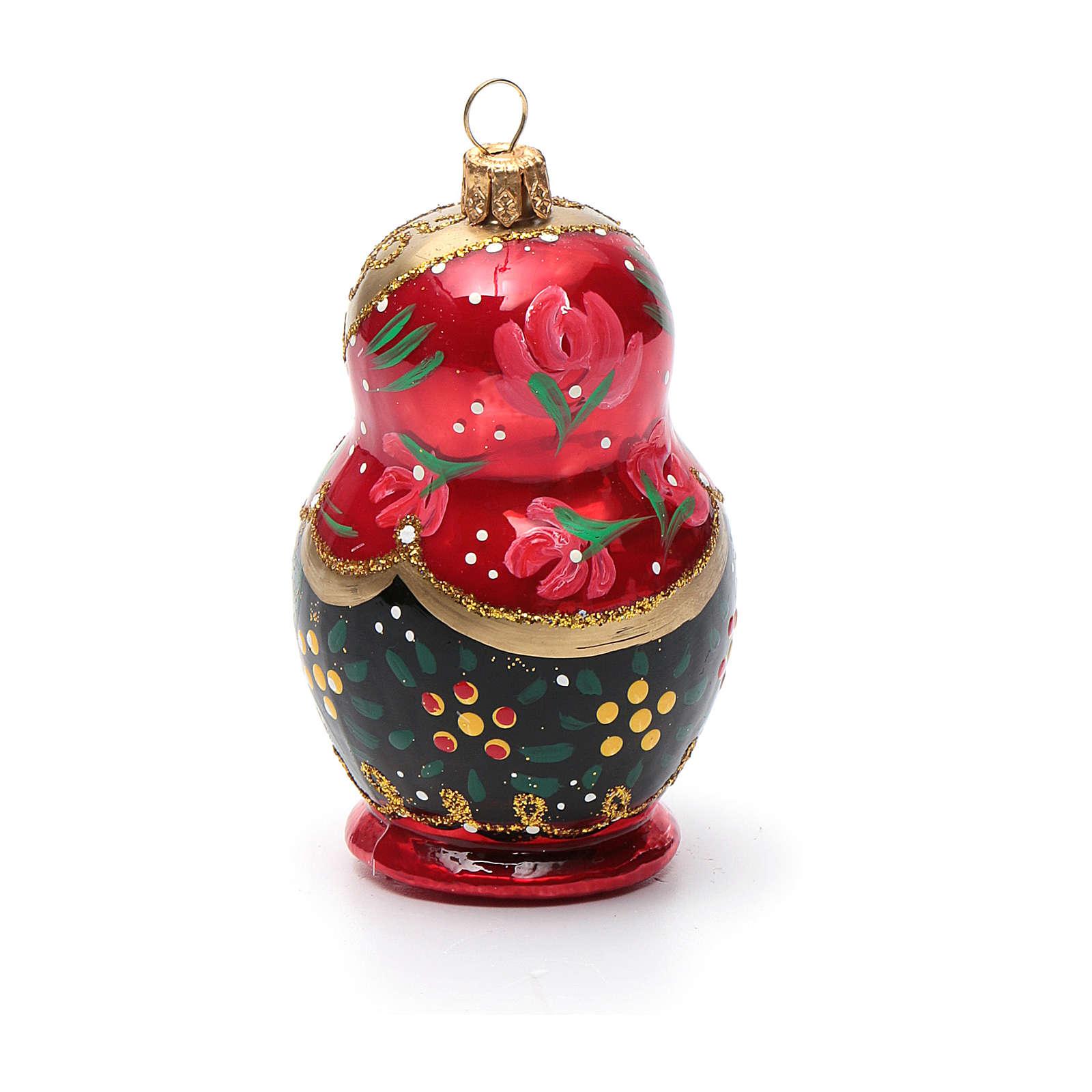 Boneca russa enfeite vidro soprado árvore Natal 4