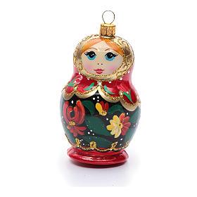 Boneca russa enfeite vidro soprado árvore Natal s1