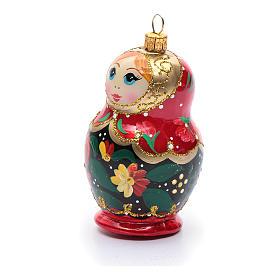 Boneca russa enfeite vidro soprado árvore Natal s2